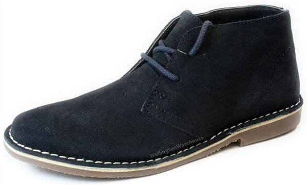 Red Tape - Gobi Suede Mens Navy Leather Lace Up Boots
